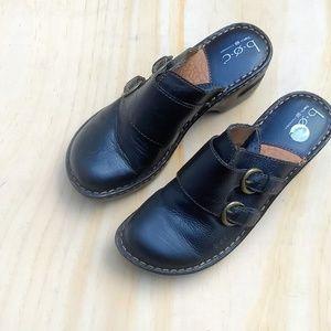 Boc black leather clogs